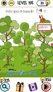 Jawaban level 195 brain test ada apa dibawah pohon?