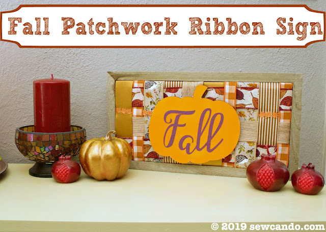 fall ribbon patchwork sign decoration
