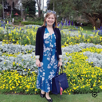 awayfromblue Instagram spring office outfit kmart teal floral midi dress black blazer brisbane botanic gardens