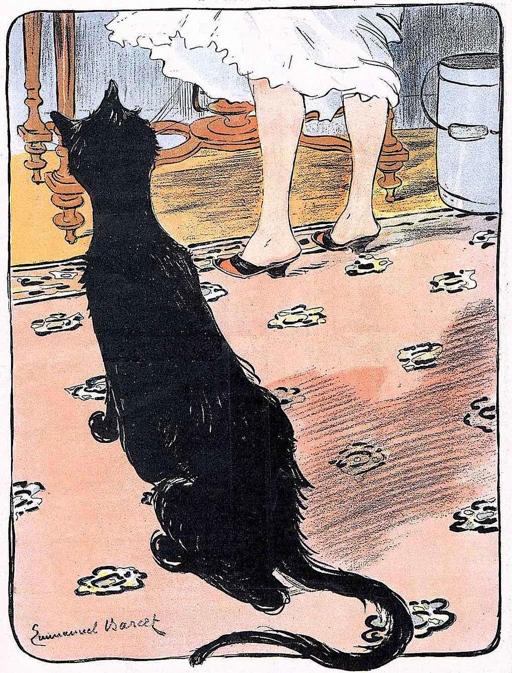 an Emmanuel Barcet 1902 illustration of a cat waiting for food