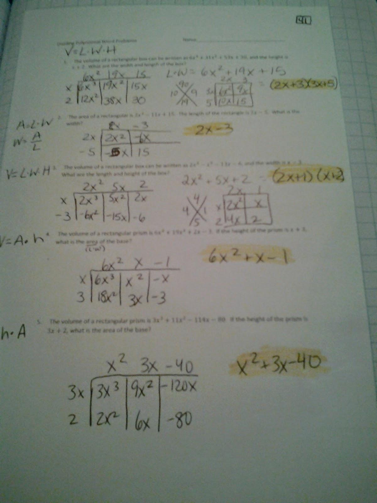 Dividing Polynomials Worksheet Kuta