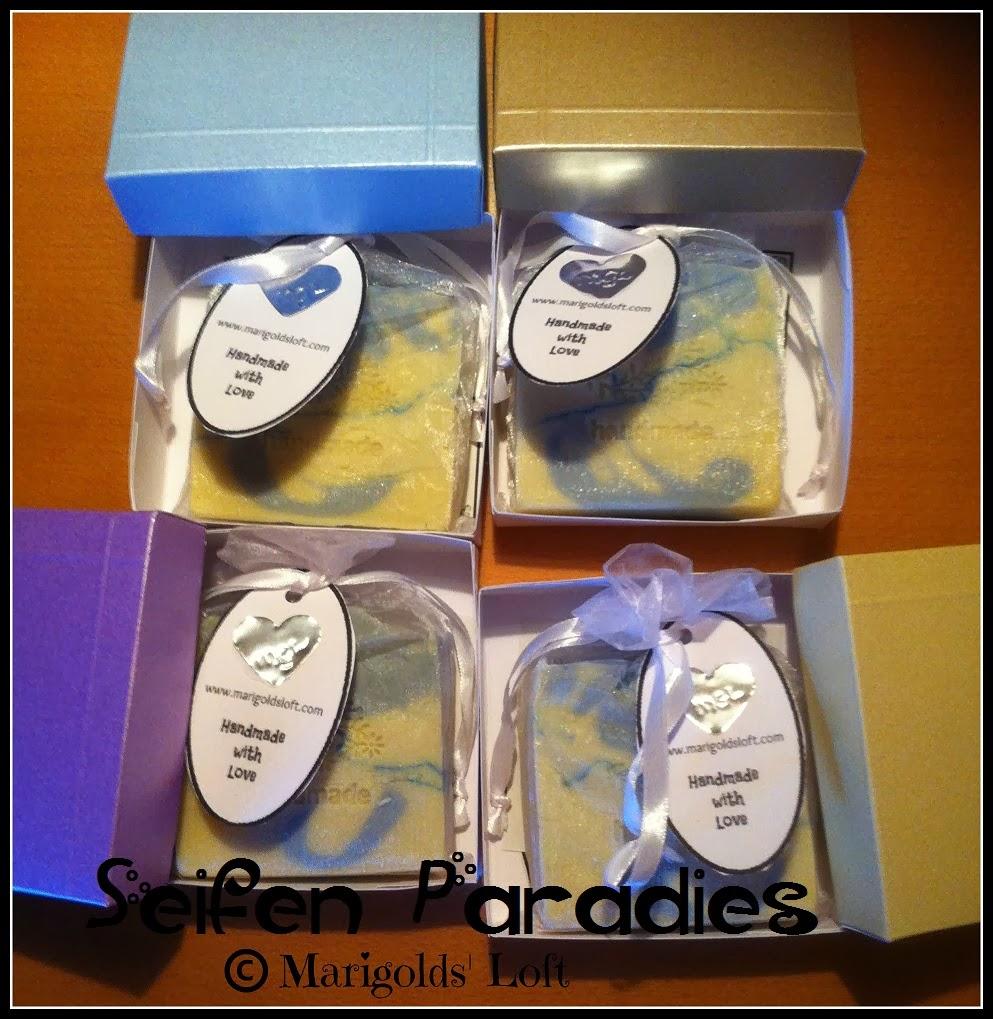 handmade soaps in handmade gift boxes