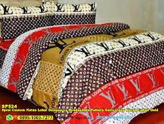 Sprei Custom Katun Lokal Dewasa Lv Stradanikita Pattern Garis Linen Merah Coklat Gold
