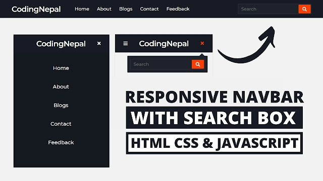 Responsive Navbar with Search Box using HTML CSS & JavaScript