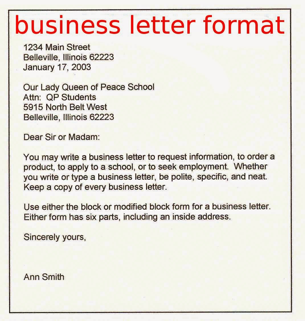 A Example Of A Business Letter Format