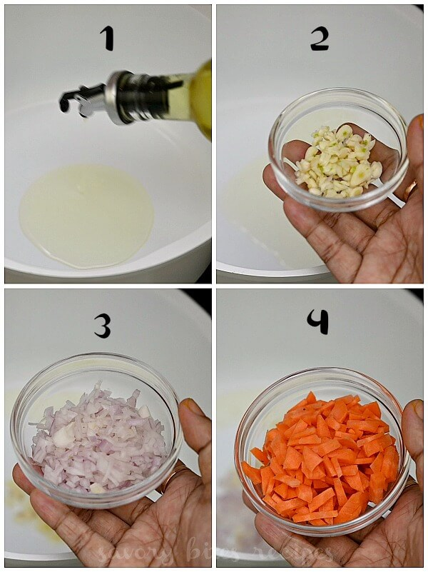 ingredients to make lemon orzo soup - add oil,garlic,onion,carrot