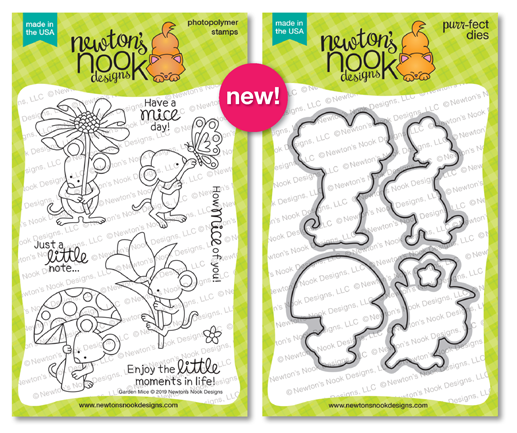 Garden Mice | Mice with Flowers Stamp Set by Newton's Nook Designs #newtonsnook