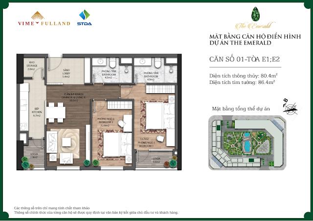 Thiết kế căn 01 tòa E1-E2