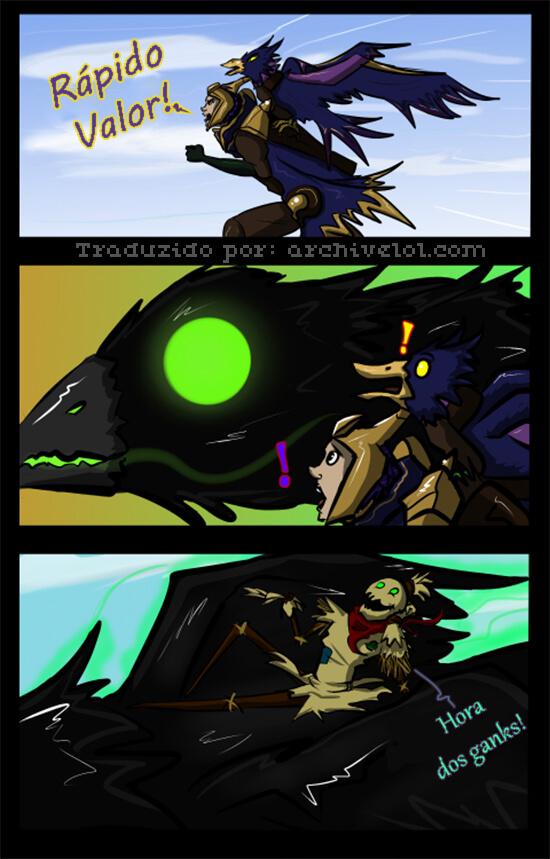 Tirinha do Fiddlesticks e um corvo com Quinn e Valor
