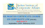 SIX MONTHS CERTIFICATE COURSE ON CORPORATE LAW(ONLINE) - September 2019 - February 2020