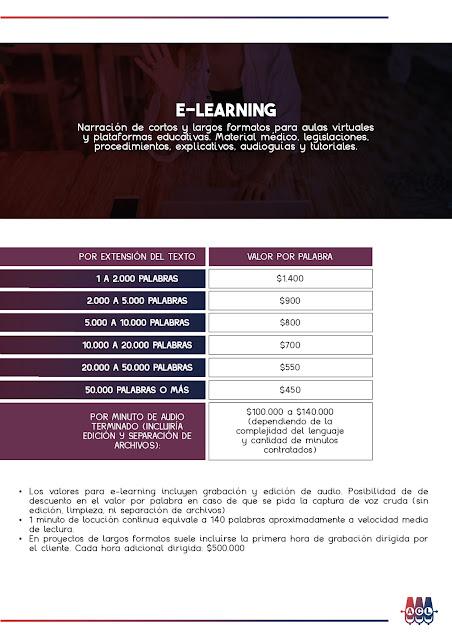 Tarifas de Locución E-Learning Colombia 2021