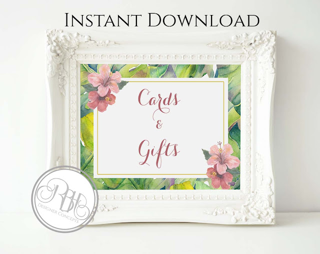 tropical island watercolour cards & gifts sign template by rbh designer concepts