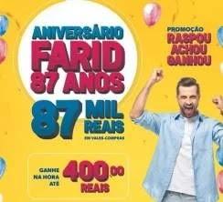 Promoção Farid Supermercados 87 Anos Aniversário 2019 - Vales-Compras