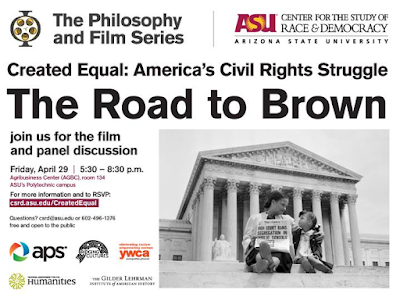 ASU Philosophy and Film Series.  Created Equal: America's Civil Rights Struggle.  The Road to Brown.  See text in blog. Image from the clip in the film of a yong mother and her child on steps of Lincoln Memorial, holding newspaper with headline: High Court Bans Segregation in Public Schools.