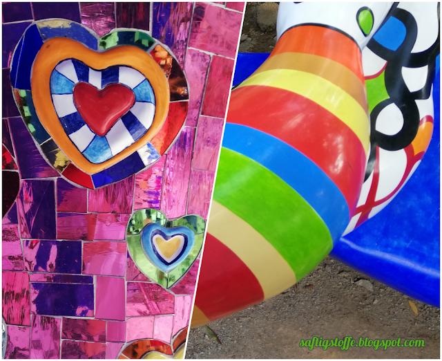 Niki de Saint-Phalle Kunst, bunte Mosaike und Skulpturen