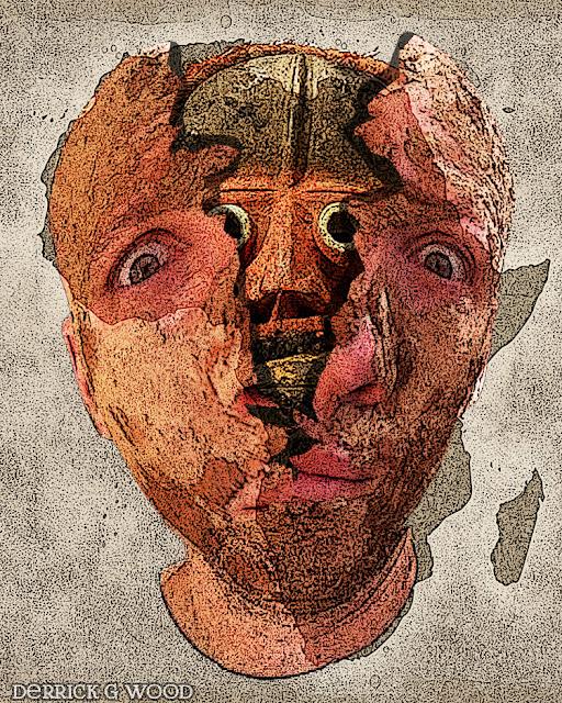 self portrait weird tribal africa art mask