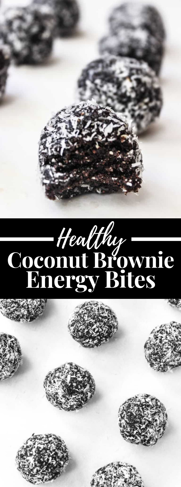 DARK CHOCOLATE COCONUT BROWNIE BITES #healthy #healthyrecipes