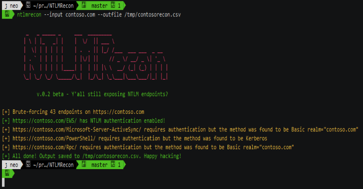 NTLMRecon : Tool To Find Out Information About NTLM Endpoints
