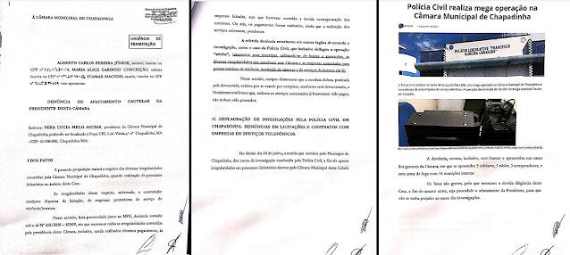 Denúncia pedindo afastamento da presidente da Câmara de Chapadinha