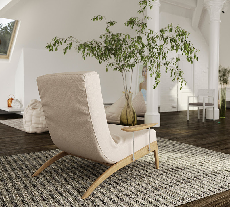 Rugs keep the eye low where needed to create a perception of a much taller room seating and shelving are also kept low level allowing large pieces of