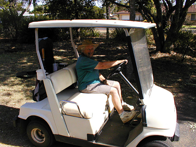 Ruth Walter in a golf buggy. Pittsworth, Queensland, Australia.  Photographed by Susan Walter. Tour the Loire Valley with a classic car and a private guide.