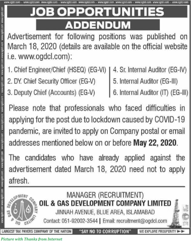 Oil and Gas Development Company Jobs 2020 - OGDCL Jobs 2020