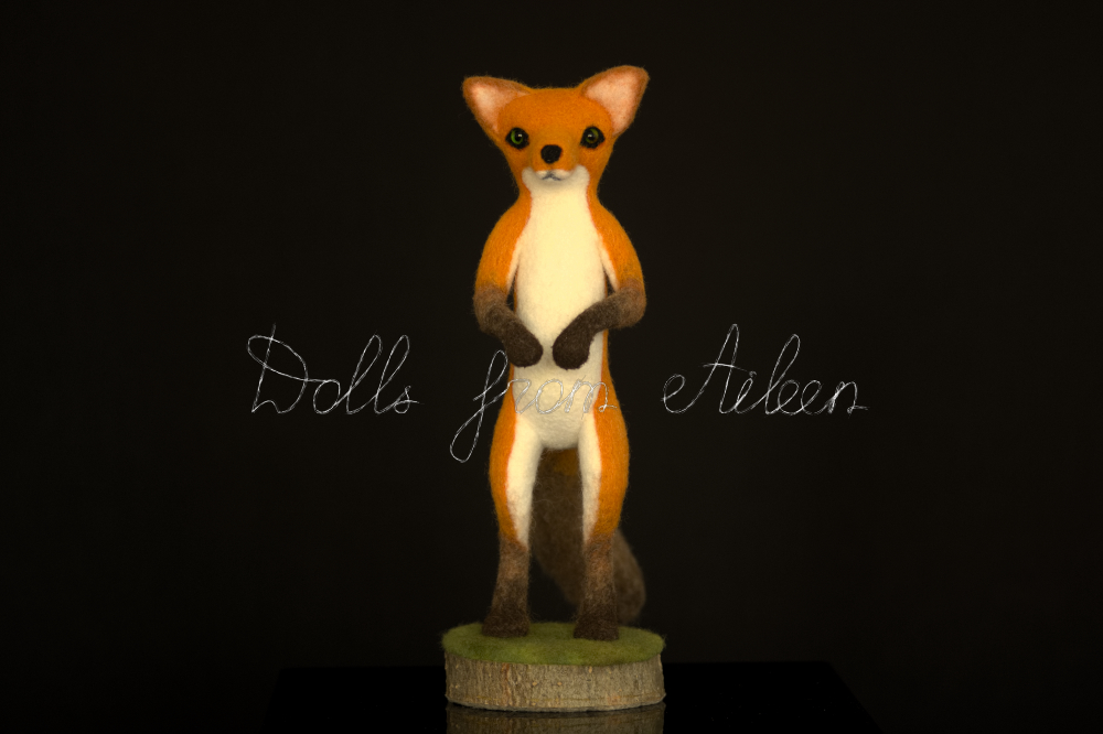 bare ooak needle felted fox sculpture, front view