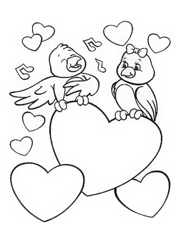Kleurplaten Over Vogels.18 Mooie Liefdes Kleurplaten
