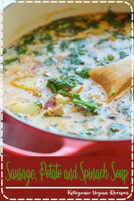 Sausage, Potato and Spinach Soup - A hearty, comforting soup that's so easy and simple to make, loaded with tons of fiber and flavor! 329.5 calories.  #healthyrecipes #recipes #easyrecipes #veganrecipes