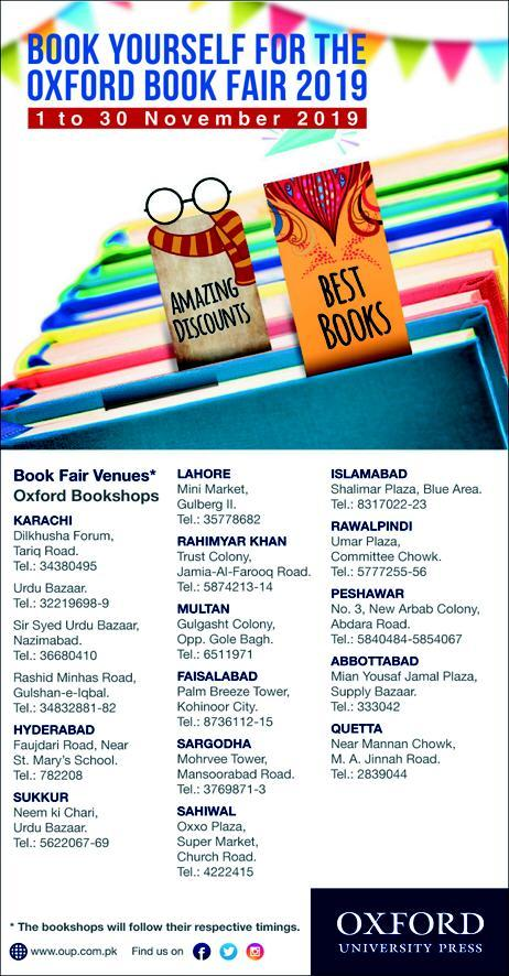 Oxford Book Fair 2019 in Pakistan All Cities