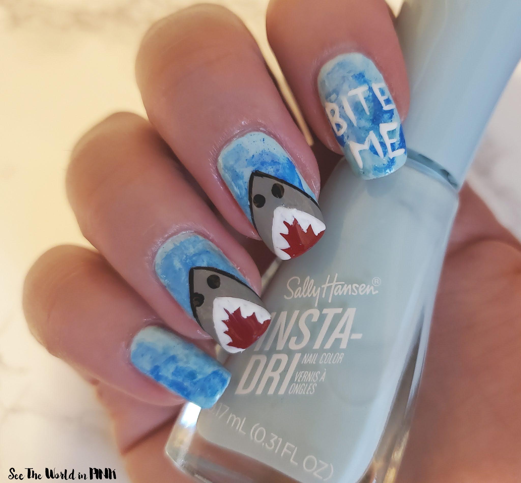 Manicure Monday - Shark Week 2021 Nails