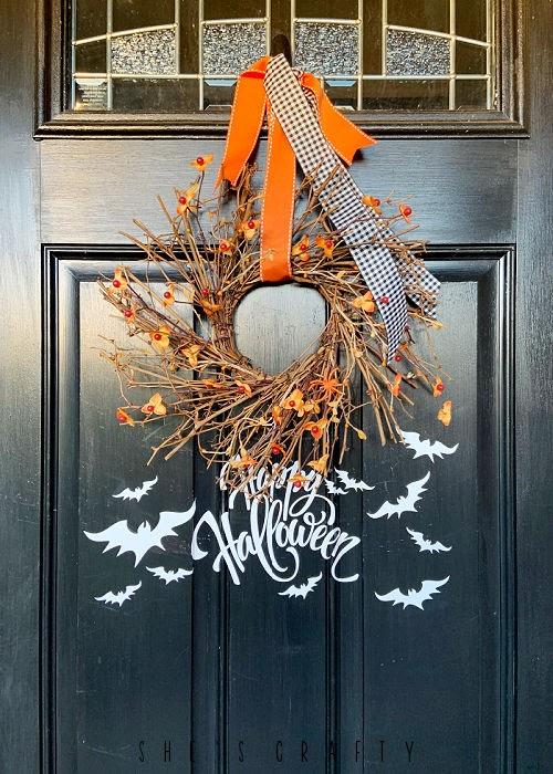 Halloween Porch - white halloween decal on black front door