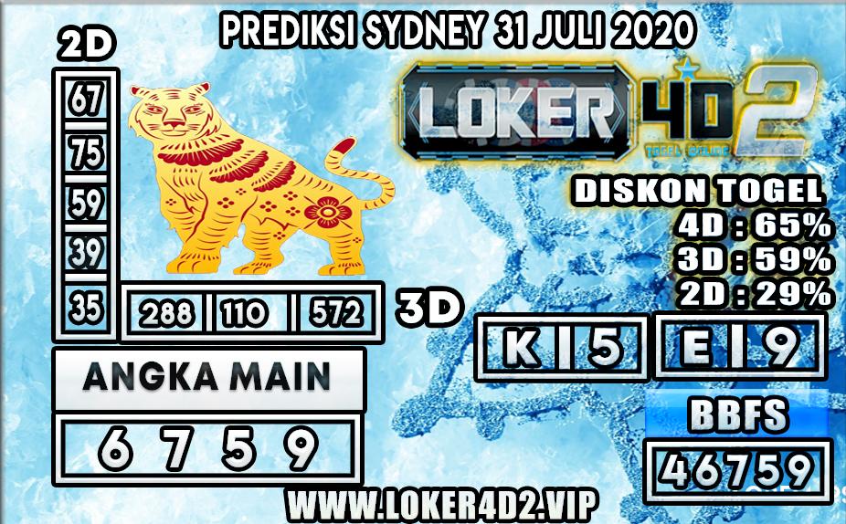PREDIKSI TOGEL LOKER4D2 SYDNEY 31 JULI 2020