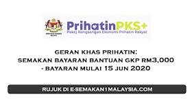 Geran Khas Prihatin: Pembayaran Bantuan GKP (RM3,000) - Mulai 15 Jun 2020