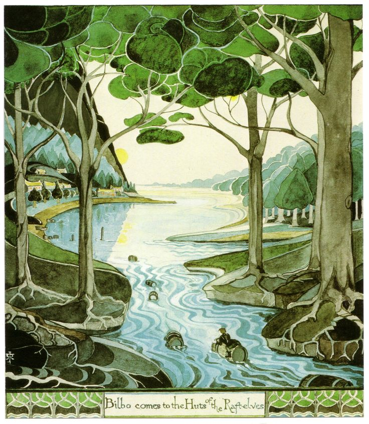 Bilbo Comes to the Huts of the Raft Elves. Illustration of The Hobbit by J.R.R. Tolkien