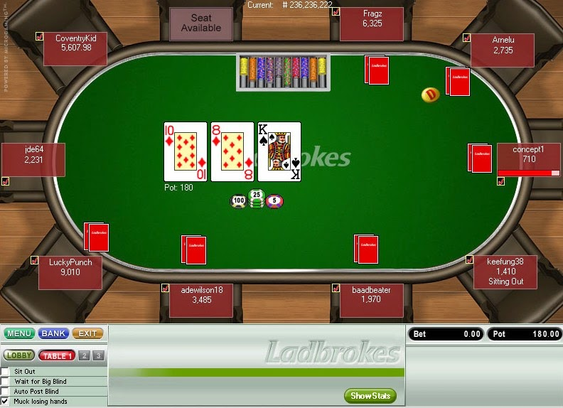 Ladbrokes Poker Table Screen