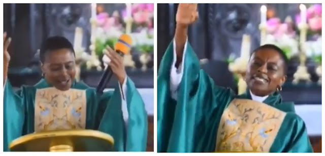 Ghanaian clergy womanand her church members sing Teni's song during service (Video)