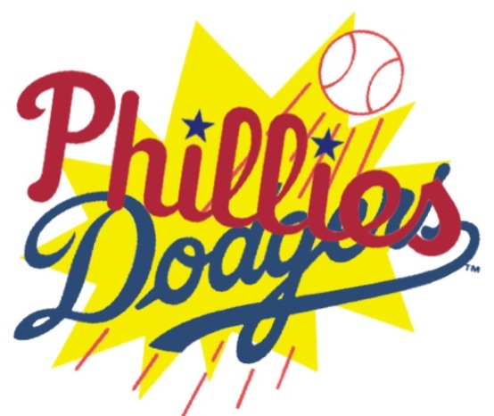 Phillies logo in dark red laid diagonally over Dodgers logo in dark blue, with baseball trailing speed lines in background and yellow comics-style burst suggesting that they have collided