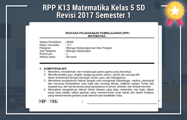 RPP K13 Matematika Kelas 5 SD Revisi 2017 Semester 1