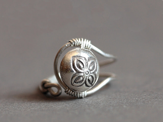 Hot Off The Bench - Adjustable Sterling Silver Ring With Fancy Bead