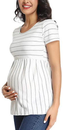 Stripe Trendy and Stylish Maternity T-Shirts Tops Clothes