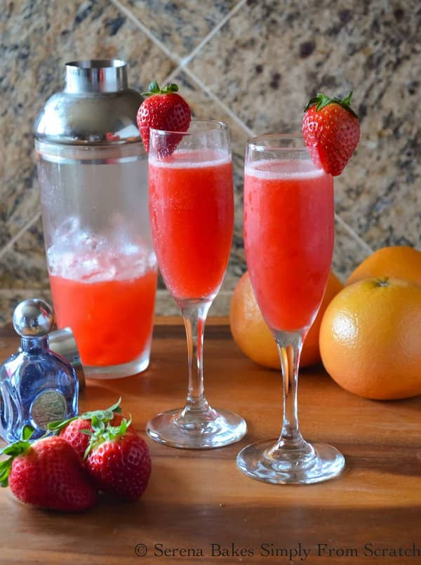 Strawberry Grapefruit Mimosas. The perfect drink for Valentines Day, Easter Brunch, or a summer gathering filled with strawberries, grapefruit, tequila and topped with champagne from Serena Bakes Simply From Scratch.