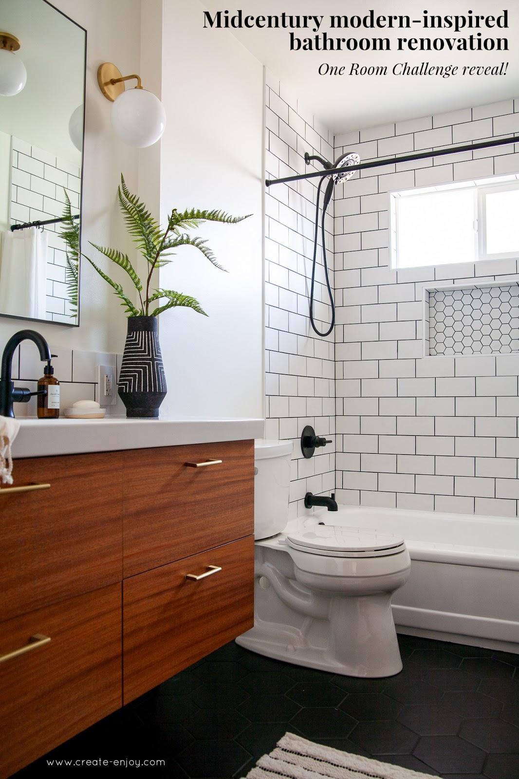 Modern Bathroom Renovation Reveal The Finished One Room Challenge Create Enjoy