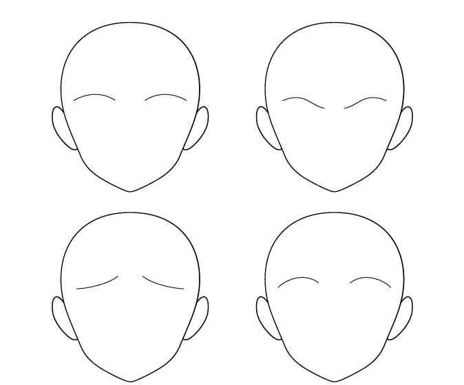 Anime tipis satu garis alis posisi berbeda