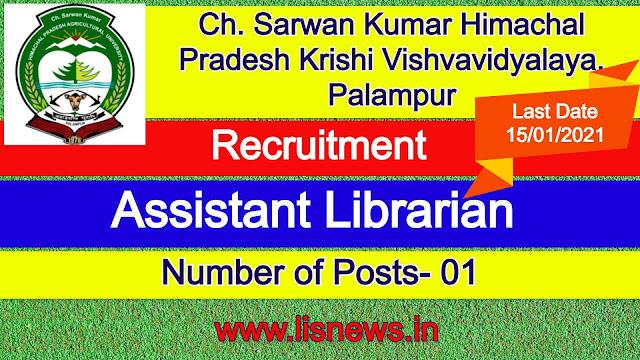 Assistant Librarian at Ch. Sarwan Kumar Himachal Pradesh Krishi Vishvavidyalaya, Palampur