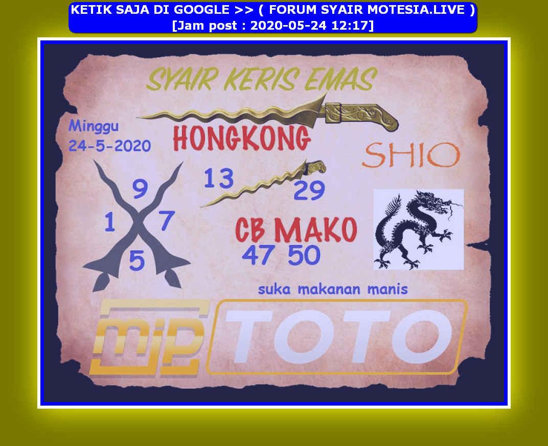 Kode syair Hongkong Minggu 24 Mei 2020 124