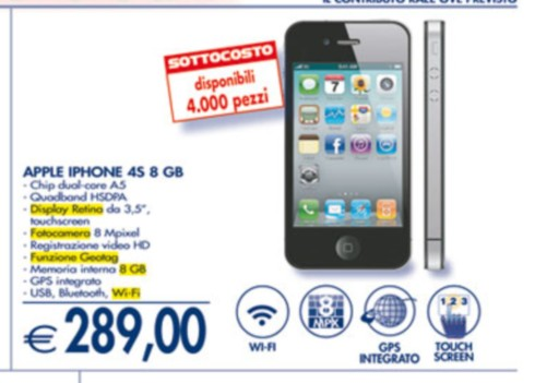 Prezzo sottocosto iPhone 4S 8GB da Esselunga