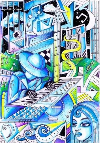 Overnight, Every Night - Original surreal art drawing by artist Spencer J. Derry on Artfinder