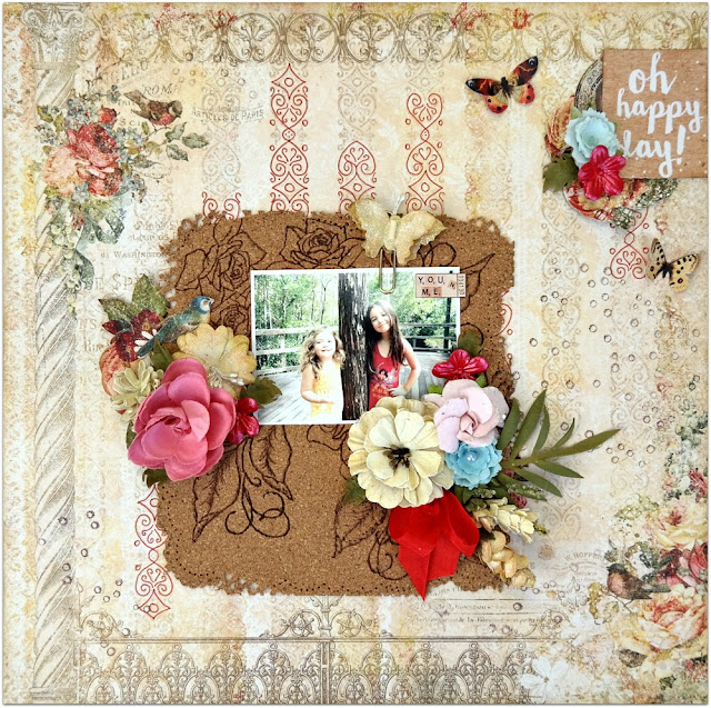 Oh Happy Day Shabby Chic Scrapbook Layout by Dana Tatar for Scraps of Darkness - Blue Fern Studios Memoirs Collection