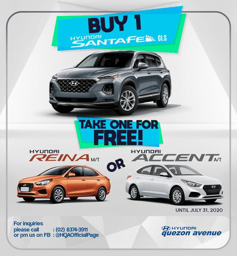 Hyundai Quezon Ave will give you a FREE sedan when you purchase Hyudai SANTA FE!